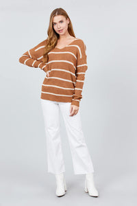 You Got Me Twisted Stripe Sweater Top In Amber