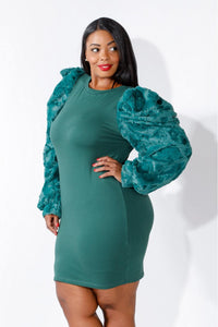 A Touch Of Class  Fur Shoulder Dress In Green