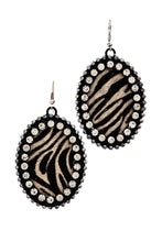 Animal Print Pattern Genuine Leather Circle Drop Earring