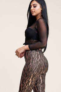 """Stepping Out Tonight"" Two Piece Mesh Top Pants Set In Black/Gold"