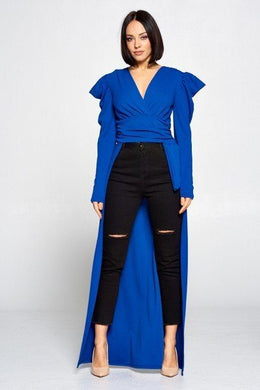 """So Jazzy"" V Neckline Top In Blue"