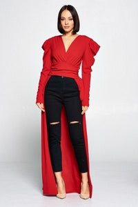 """So Jazzy"" V Neckline Top In Red"