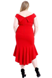 """First Class""  Off The Shoulder Body Con Dress In Red"