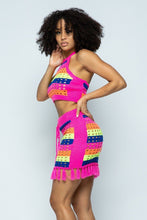 """Covered In Tassels"" Two Piece Skirt Set In Neon Pink"
