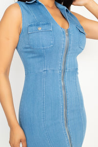 """Denim Affair"" Mini Dress In Light Denim"