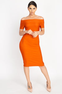 """Top Notch"" Off The Shoulder Bandage Dress in Burnt Orange"