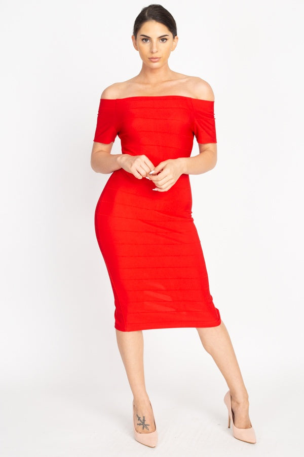 """Top Notch"" Off The Shoulder Bandage Dress In Red"