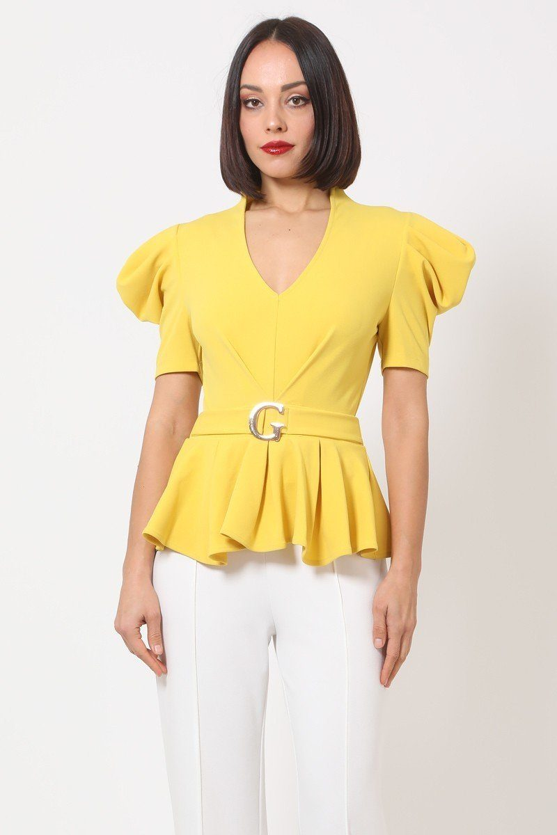"""Girl Gang"" Puffy Sleeve Top in Yellow"