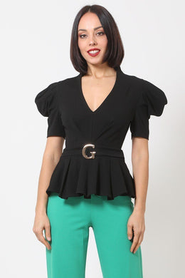 """Girl Gang"" Puffy Sleeve Top in Black"