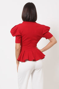 """Girl Gang"" Puffy Sleeve Top in Red"