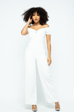 """I'm Fancy""  Chic Jumpsuit In White"