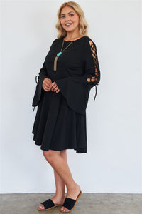 """ So Sophisticated""  Bell Sleeves Dress In Black"