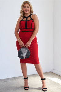"""I'm Irreplaceable""  Bodycon Midi Dress In Red"