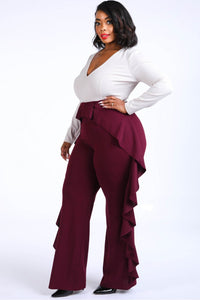 """ Truth or Dare""  Ruffle Color Block Jumpsuit in Burgundy ( Plus)"