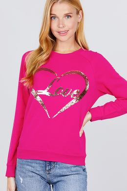 """Love Letters""Sequins Sweater in Pink"