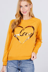 """Love Letters"" Sequins Sweater in Mustard"
