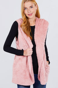 """Fur Vibes"" Fluffy Vest in Pink"