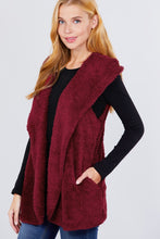 """Fur Vibes""Fluffy Vest in Burgundy"