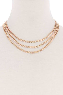 3 Simple Metal Chain Layered Necklace