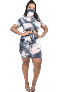 """Cover Me Up""Tie-dye Short Set in Black/Taupe (Plus)"