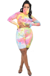 """Cover Me Up"" Tie-dye  Short Set in Multi Pink(Plus)"