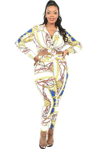"""Birthday Behavior"" 2 Piece Legging Set in White Multi (Plus)"