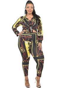 """Birthday Behavior"" 2 Piece Legging Set in Black Multi (Plus)"