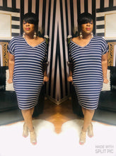 """Casual Vibes"" Striped Dress (Navy Blue)"