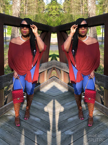 """Mia"" Oversized Tunic Top in The Color Wine(Plus Size)"
