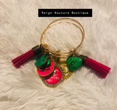 """Pretty In Pink and Green"" Luxury 2 Piece Bangle Set"