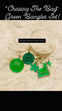 """Chasing The Bag"" Green Luxury Charm Bangle Set"
