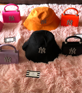 """Pretty Girl Vibes"" Bling New York Bucket Hat and Purses Set💜💛"