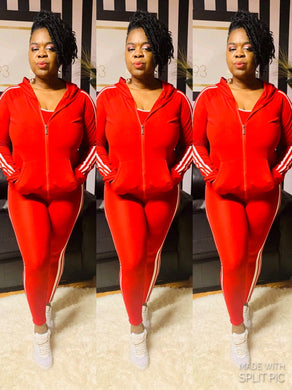 """Motor Sport "" Striped Tracksuit Set in Red"