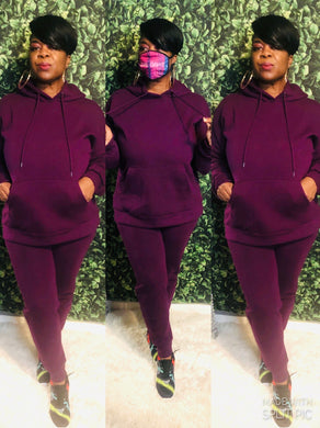 """On The Run"" Jogging Set In Plum ( Plus)"