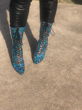 Bella Blue Snakeskin Booties