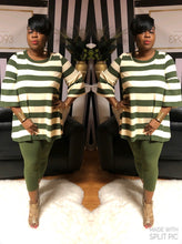 """Cute and Cozy"" Striped Sweater Set In Olive (Plus)"