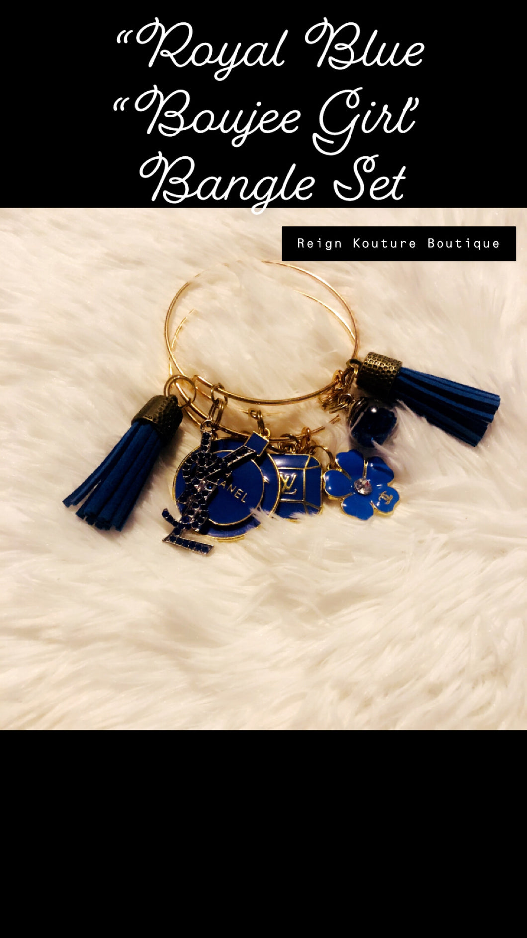 "Royal Blue ""Boujee Girl"" Gold Bangle Set"