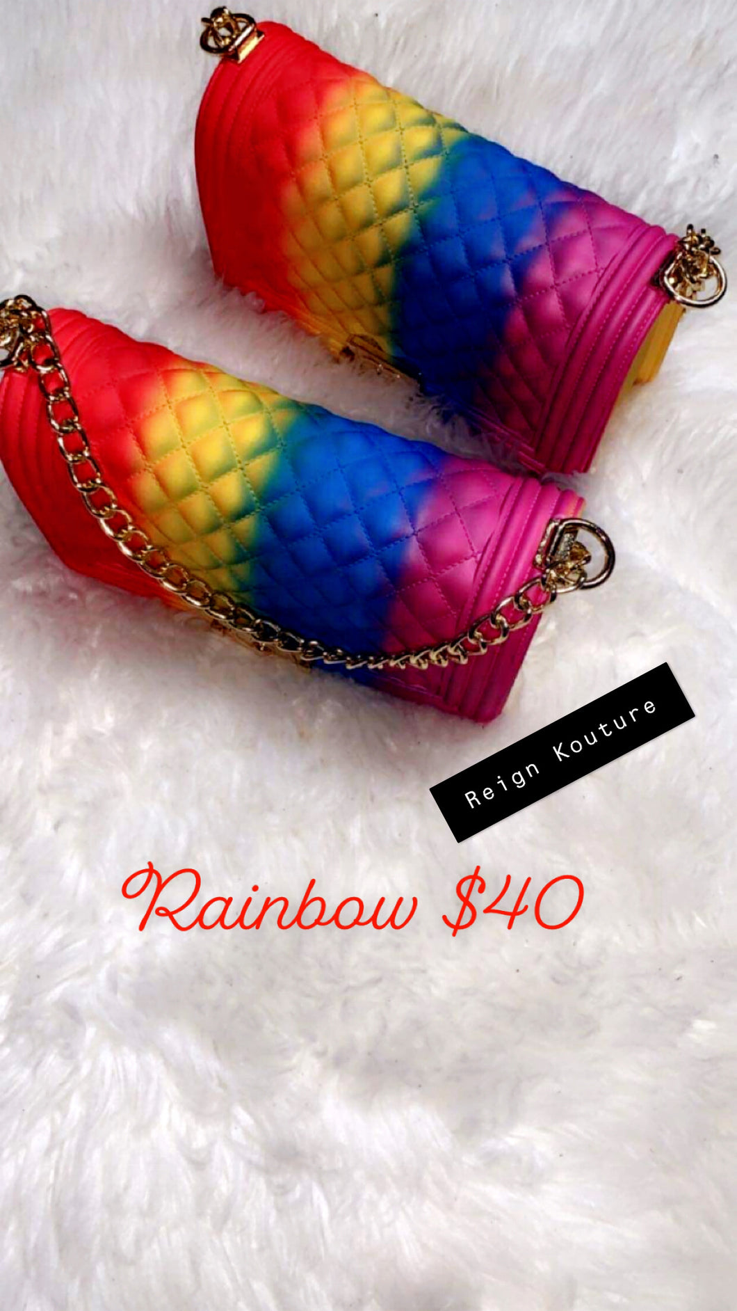 """Rainbow Vibes"" Large Jelly Handbags"