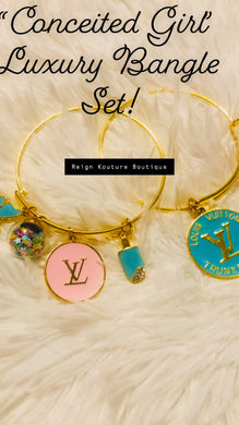 """ Conceited Girl"" Luxury Charm Bangle Set in Teal Blue and Pink"