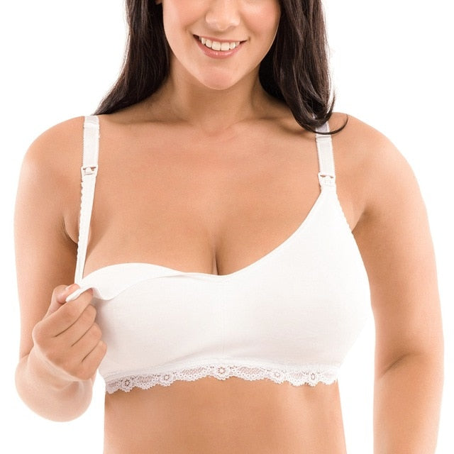 White wireless comfort nursing bra