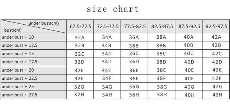 wireless comfort nursing bra sizing chart