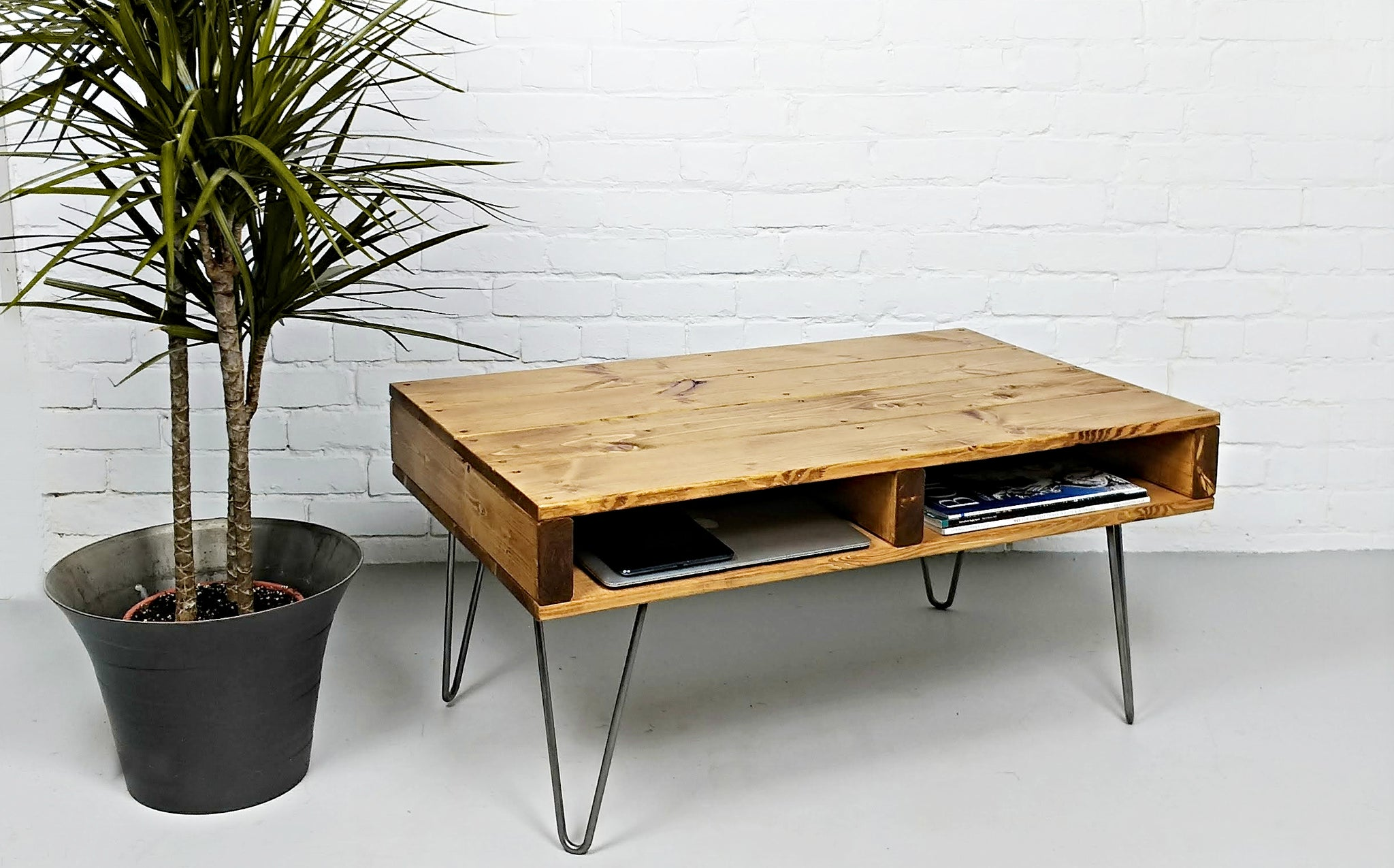 - Pallet Coffee Table In An Oak Finish On Steel Hairpin Legs - VYBE