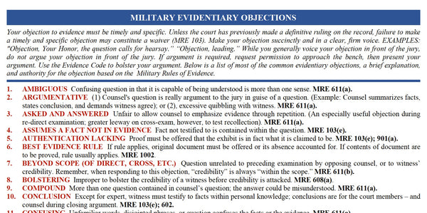 Military Rules of Evidence Objections