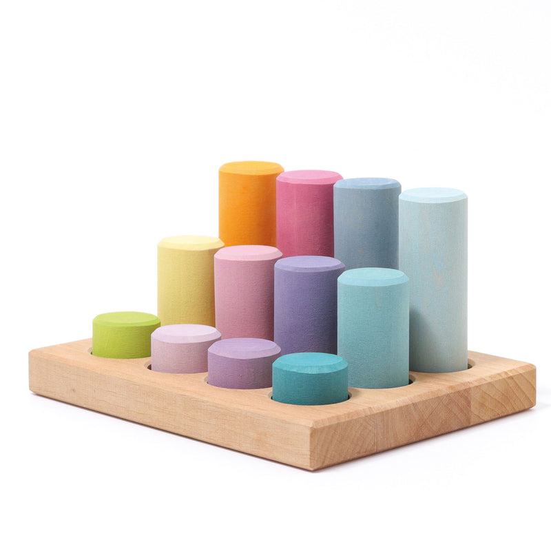 Grimm's Stacking Game Small Pastel Rollers - Adams Attic