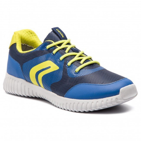 Geox Waviness Lace Up Trainer Navy/Lime - Adams Attic