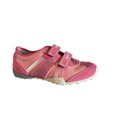 Geox Snake Textile Suede Trainer Pink - Adams Attic