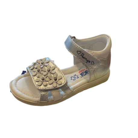 Primigi Silver & White Flower Sandal - Adams Attic