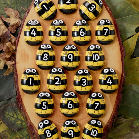Yellow Door Honey Bee Number Stones - Adams Attic
