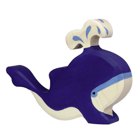 Holztiger Blue Whale with Water Fountain - Adams Attic