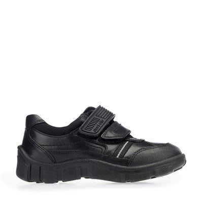 Start Rite Luke Black Leather Riptape Casual School Shoes - Adams Attic